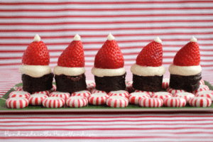 Santa Hat Strawberry & Brownie Bites