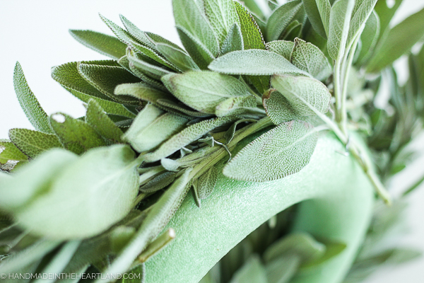 image showing floral pins securing fresh sage on to wreath form