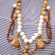 Refashioned Thrifted Wooden Bead Necklace
