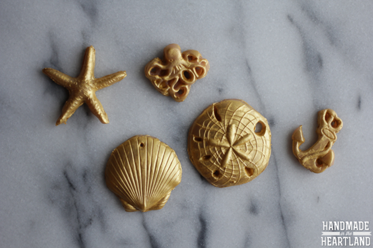 polymer clay beads painted gold