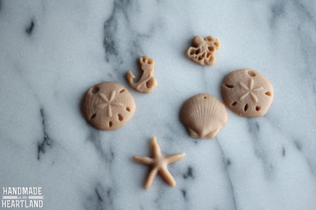 seashell polymer clay beads