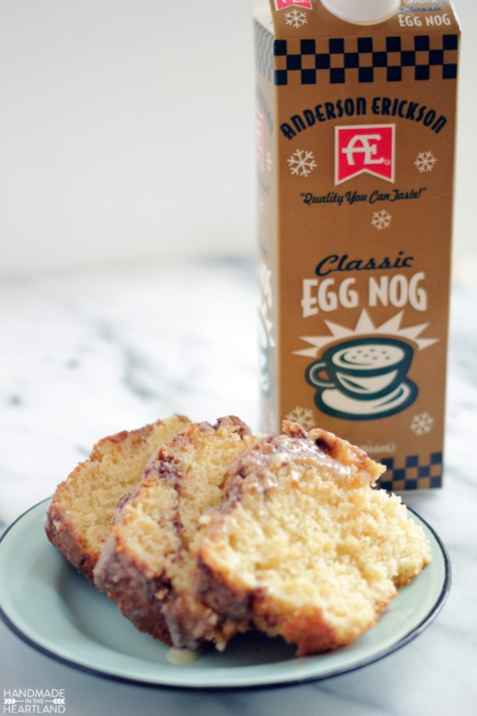 holiday baking eggnog cinnamon bread