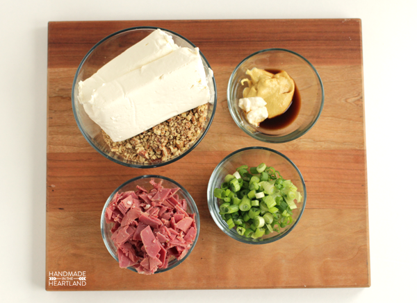 ingredients for corned beef cheeseball appetizer recipe