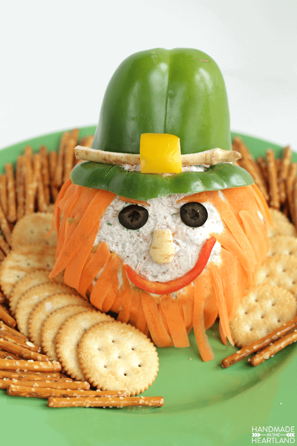 cheese ball decorated to look like a leprechaun
