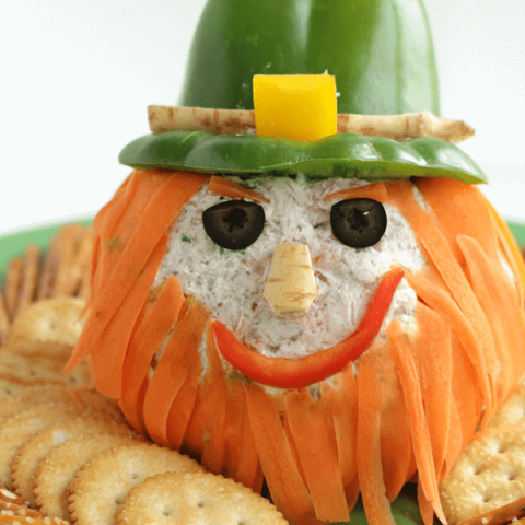 Cheeseball appetizer decorated to look like a leprechaun