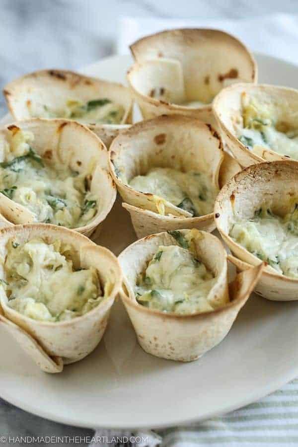 Spinach Artichoke Tortilla Cups