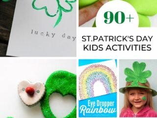 collage image of 90 St. Patrick's Day activities for kids including toilet paper roll shamrocks, paper shamrocks, shamrock paper plate hat, green glitter play dough and leprechaun traps