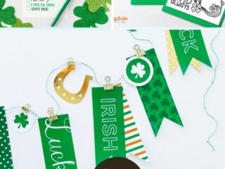 collage image showing free printable st. patrick's day files. A coloring page, game, and banner
