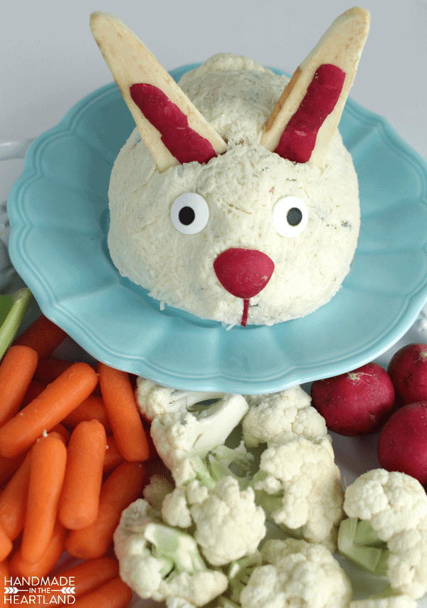 cheeseball appetizer decorate to look like Easter bunny