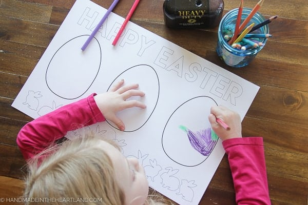 Large Easter Egg coloring page placemat free downlaod