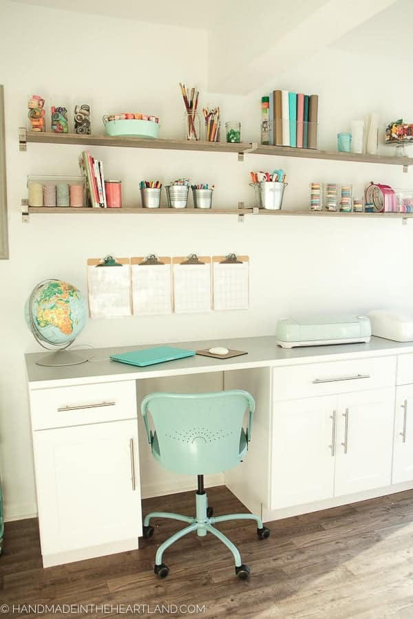 White & Aqua Craft Room Tour