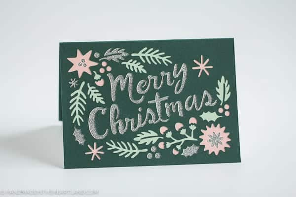 beautiful green, pink and silver Christmas card made with Cricut Explore