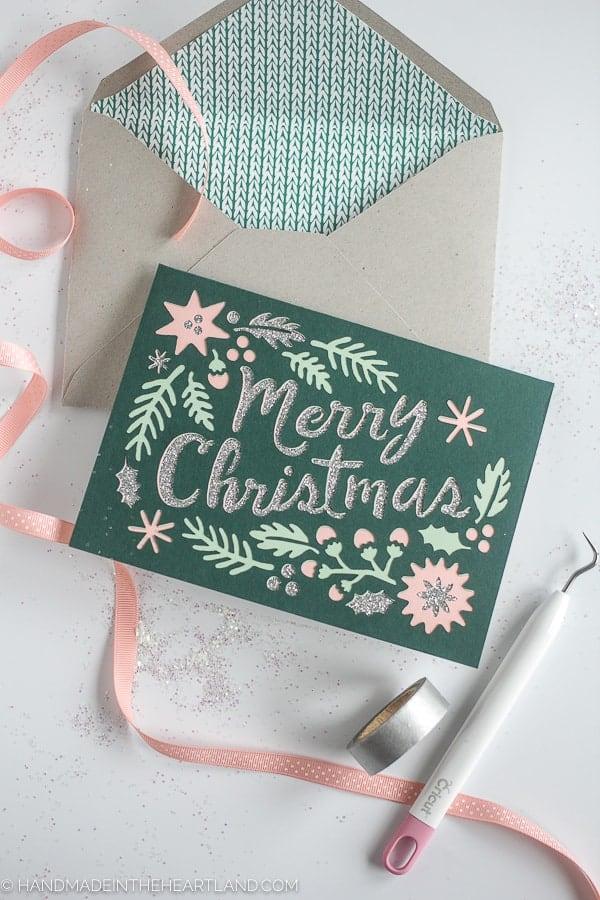 4 Layer Paper Cricut Christmas Card | Handmade in the Heartland