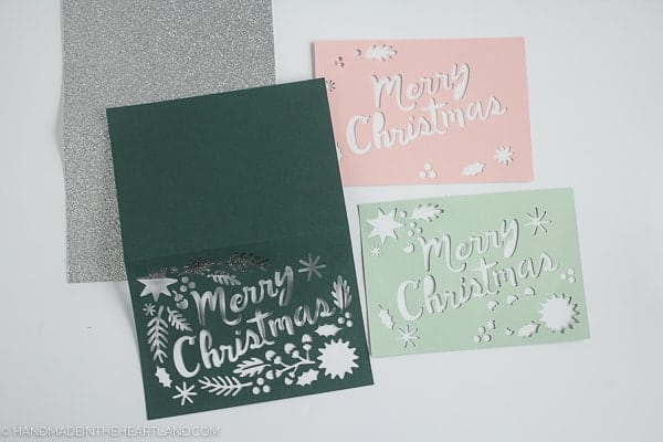 4 layers of cut paper for Cricut Christmas card