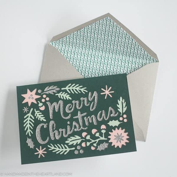 Vintage paper cut out Christmas card with Cricut Explore