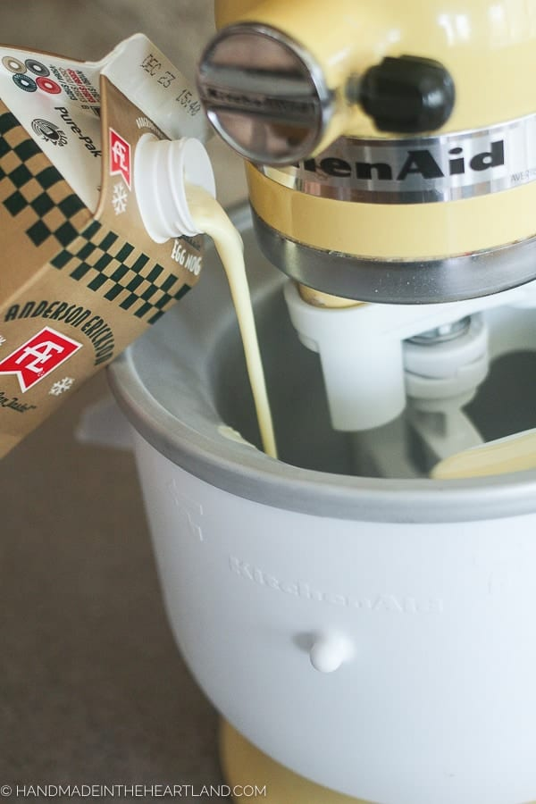 pouring eggnog into ice cream maker
