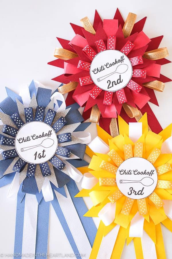 Image of handmade paper chili cook off prize ribbons