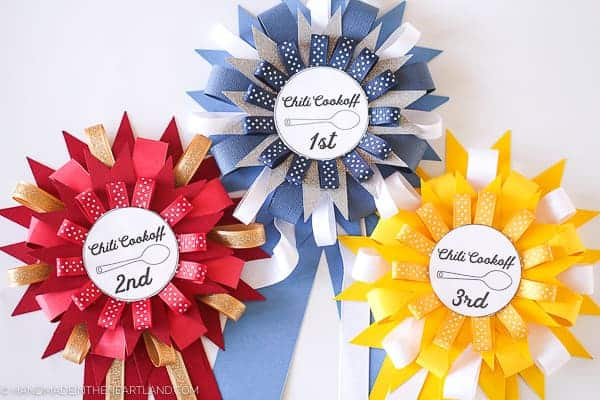 Chili cook off paper prize ribbons, 1st 2nd and 3rd place