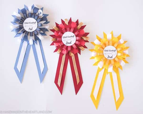chili cook off prize ribbons made out of paper