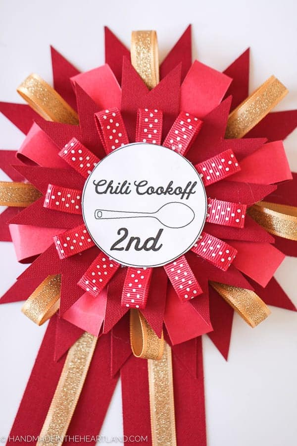 2nd place handmade paper chili cook off prize ribbon