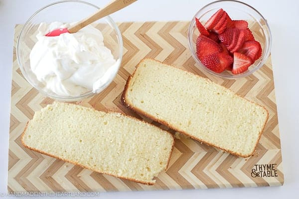 sliced lengthwise strawberry shortcake cake