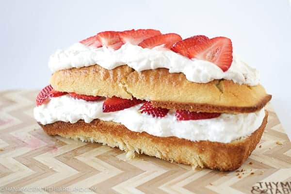 finished layered strawberry shortcake cake
