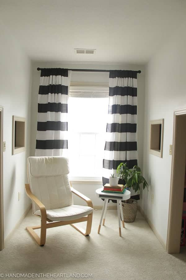 Reading nook redecorated into a modern space