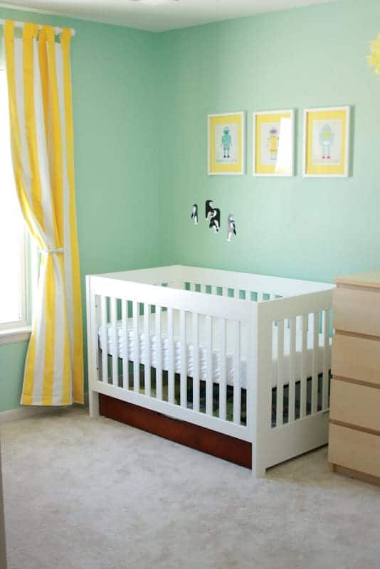 modern gender neutral yellow and aqua nursery