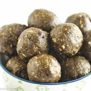 chocolate peanut butter energy bite balls in bowl