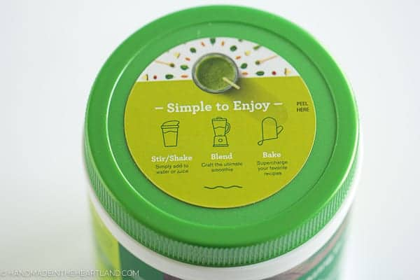 """top of amazing grass container which says """"simple to enjoy, mix, blend or shake"""""""