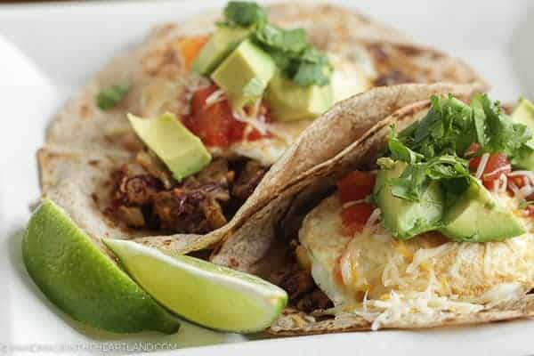 Delicious breakfast tacos with avocado, cilantro, red beans, tomatoes and eggs