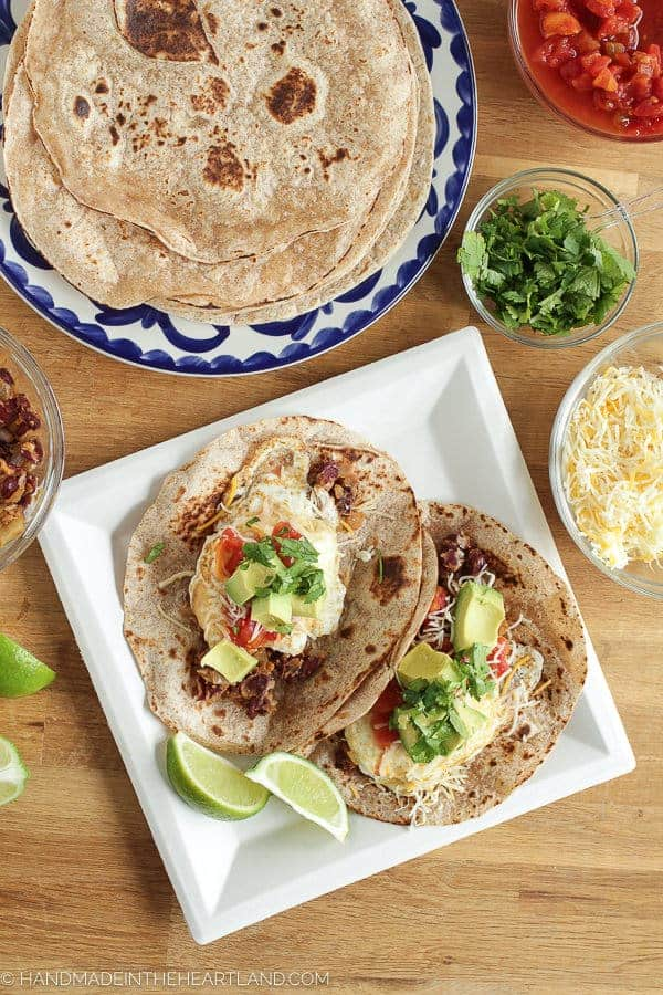 Mexican spiced breakfast tacos with whole wheat tortillas