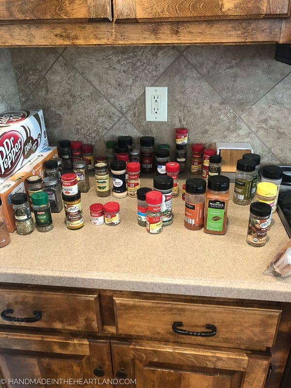 Image of random spice containers on counter