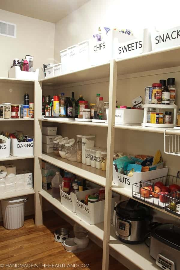 Image of nice organized pantry using Ikea containers and Cricut cut vinyl labels