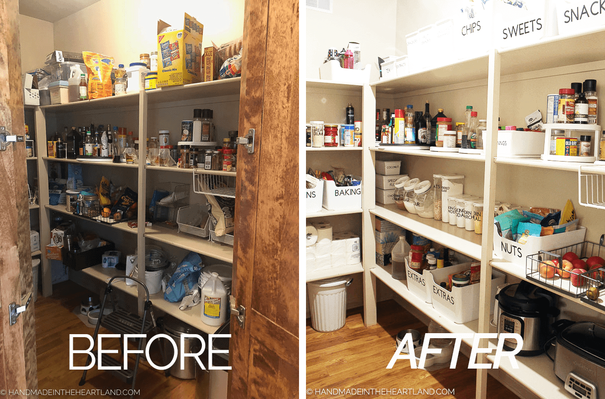 Before and After pantry organization photo