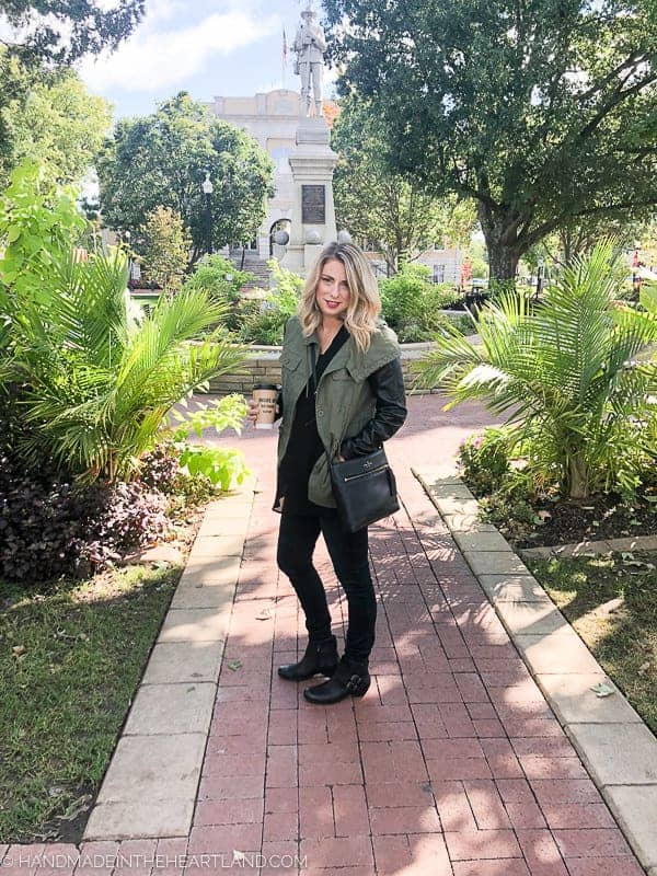 Cute black fall boots with a fall outfit