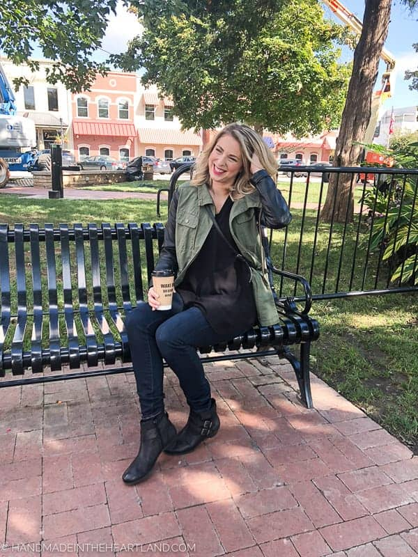 Fun denim and black fall outfit with short fall leather boots