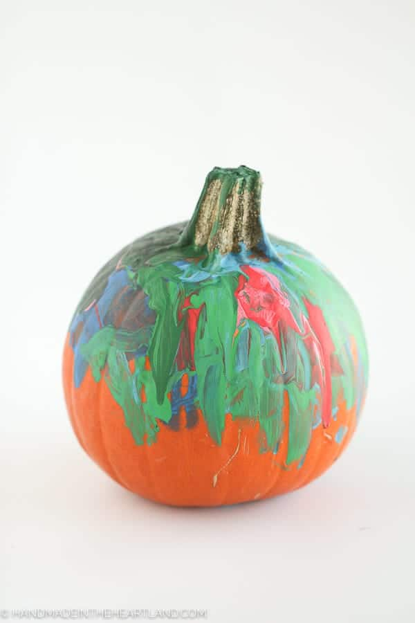 pumpkin painted by a 3 year old