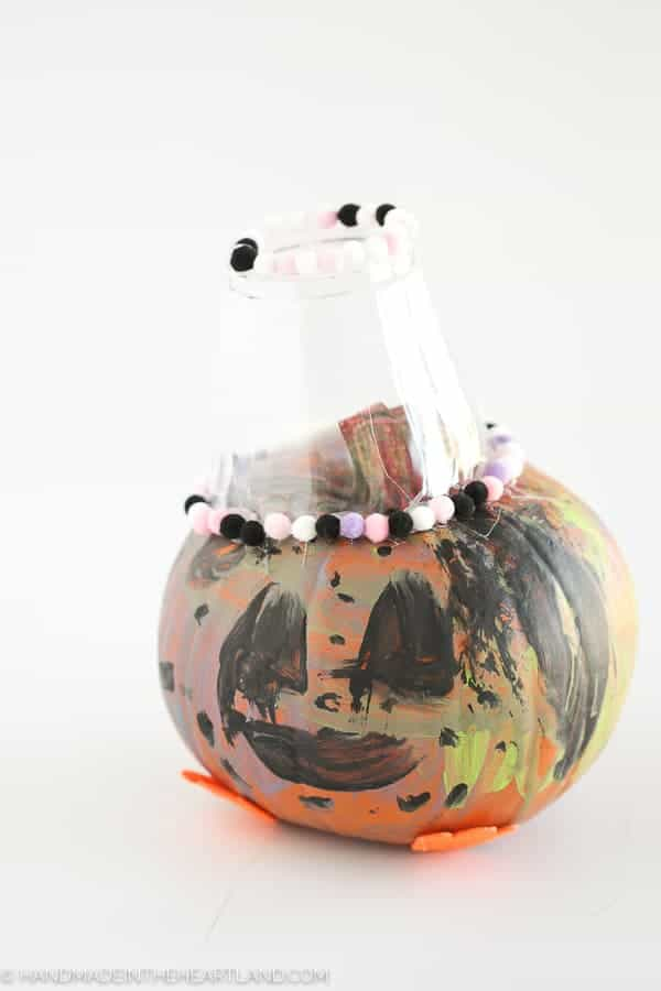 painted jack o lanter pumpkin by child
