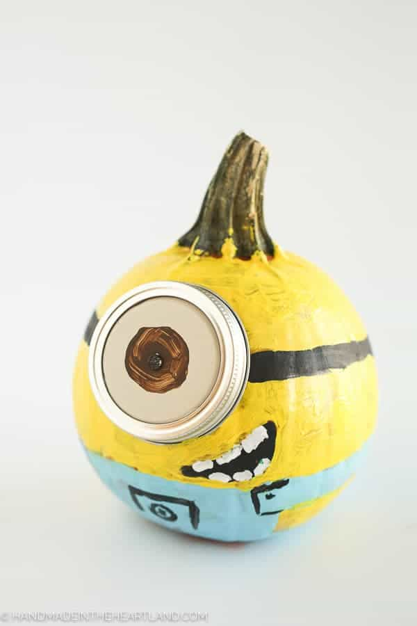 Minion painted pumpkin from Despicable Me