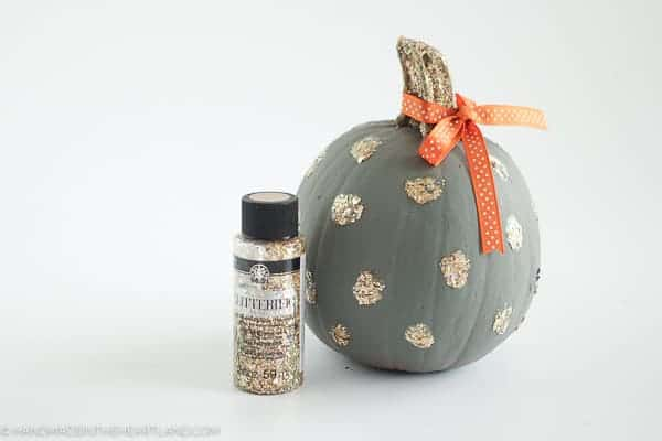 glitterific paint painted on pumpkin