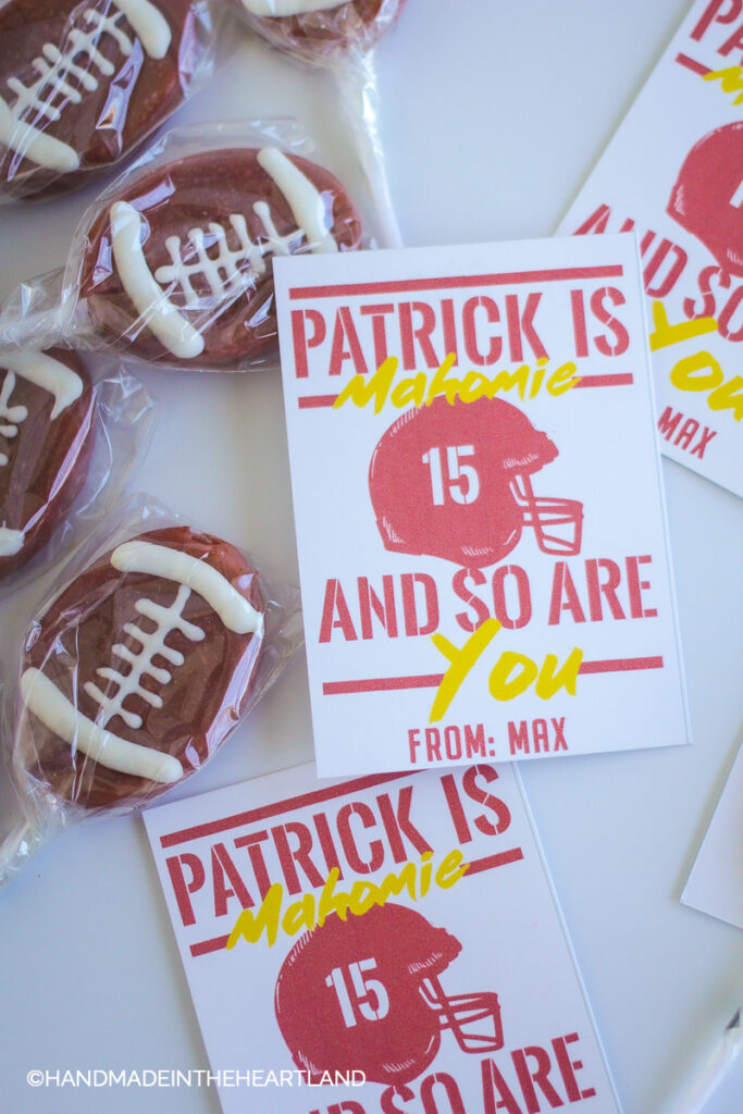 Patrick is mahomie valentine card with football shaped suckers
