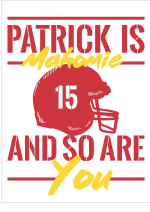 "Patrick Mahomes ""Patrick is Mahomie and so are you"" Free valentine card printable"