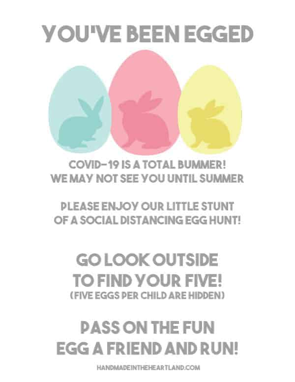"Free printable ""You've been egged"" Easter egg hunt"