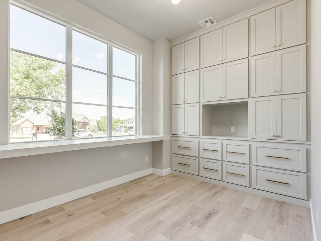 Home office painted agreeable gray