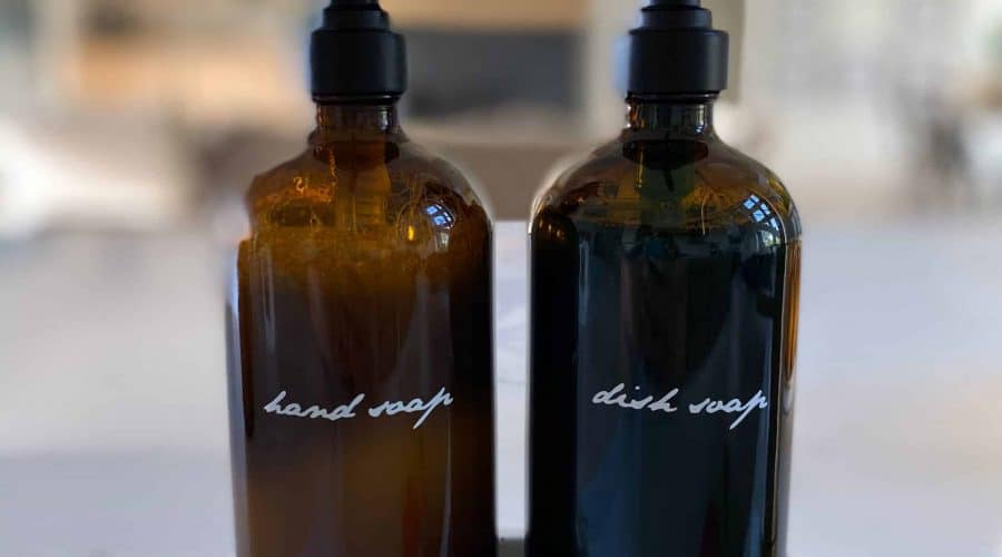 Vinyl Labels for Amber Glass Spray & Soap Containers