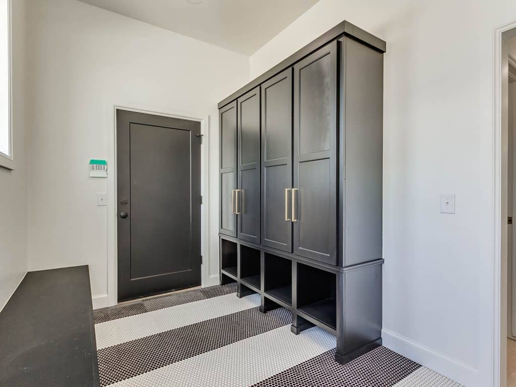 Mudroom Cabinets and bench painted Tricorn Black