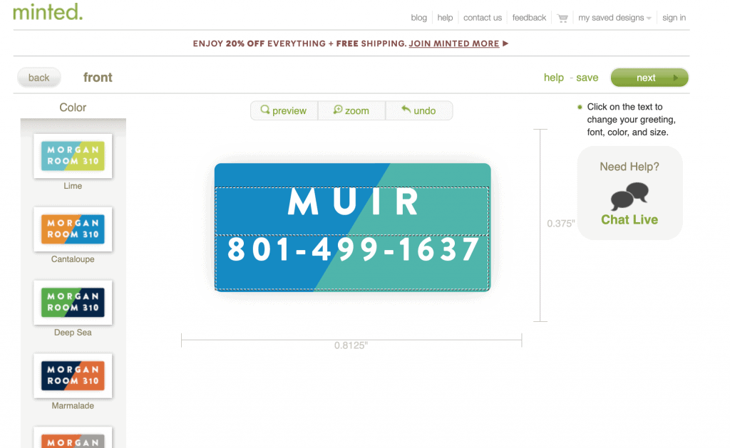 Creating name labels on minted.com