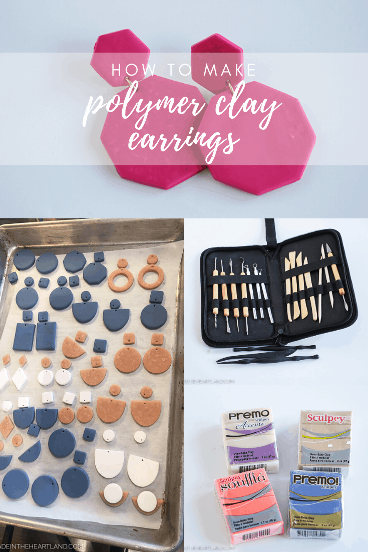 how to make polymer clay earrings image with clay, tools and finished earring pieces