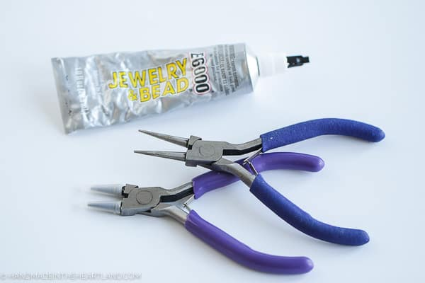 jewelry pliers and glue used for making polymer clay earrings